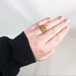 Vintage Gucci Monogram Logo Gold Plated Chain Ring